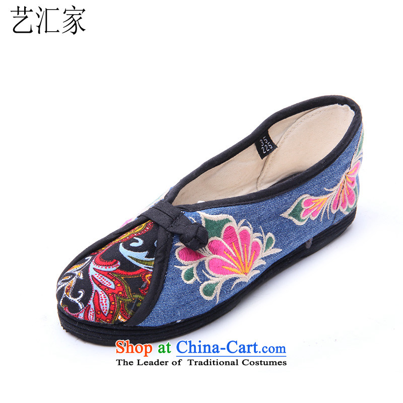 Performing Arts stylish mother shoe flat bottom embroidered shoes spring and fall new single shoes of Old Beijing HZ-14 mesh upper Blue38