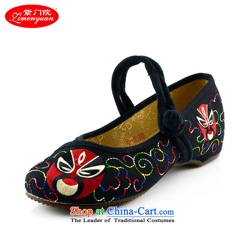 The first door of Old Beijing mesh upper spring and autumn) female embroidered shoes of ethnic single Shoes hanging ornaments embroidery stylish casual shoes 412-53 Black 40