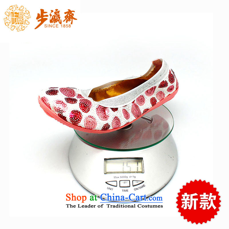 The old-established step-young of Ramadan Old Beijing mesh upper leisure irrepressible stylish shoe temperament strolling in the womens single shoe 505-09 shoes Red 37