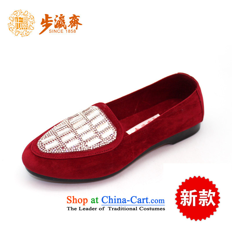 Genuine old step-mesh upper spring Ramadan Old Beijing New Anti-slip soft bottoms stylish gift shoe women shoeswomen shoes C100-10C100-10 wine red is only suitable for pin thin through