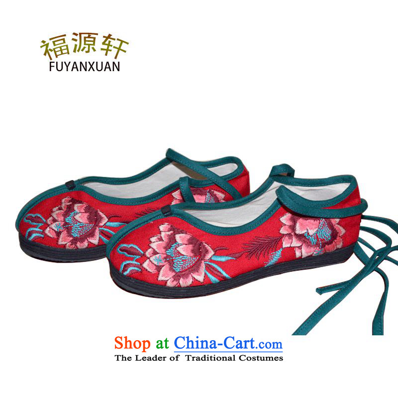 Mesh upper with old Beijing Fourth quarter, embroidered shoes of ethnic embroidery single Shoes, Casual Shoes with flat Red35