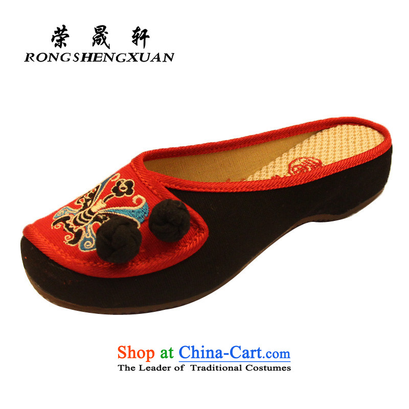 Yong-sung Xuan stylish furnishings shoes, casual women slippers old Beijing embroidered shoes A1123-48 Red39