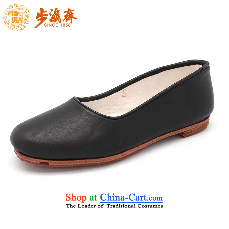 The Chinese old step-Fitr Old Beijing leather shoes female single hand shoe mother Lady's temperament shoes cow Tianyuan shoe leather black 36