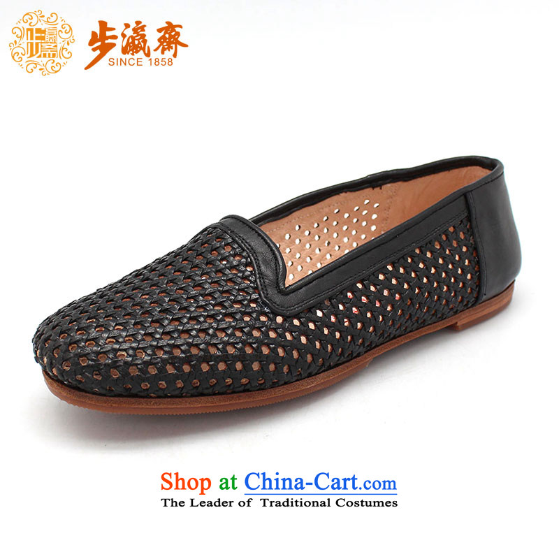 The Chinese old step-Fitr Old Beijing manually Shoes, Leather, click Internet girl shoe mother Lady's temperament cattle web tabs on shoes women shoes black 35