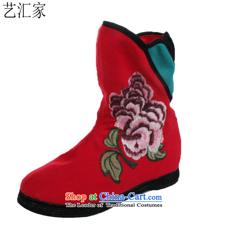 Performing Arts stylish embroidered shoes of Old Beijing women shoes stylish single fabric shoes L-8 Red 37