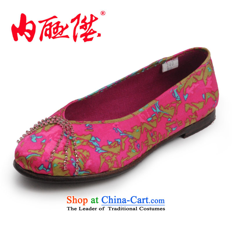 Inline l women shoes mesh upper mesh upper-gon of Old Beijing leather panelled bottom-diamond Tsim port silk single shoe 7204A mixed 38