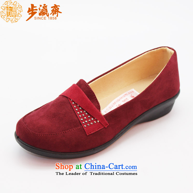 Genuine old step-young of Ramadan Old Beijing mesh upper leisure wear to the mother has a non-slip stay soft bottoms womens single shoe聽womens single N4 shoe wine red聽36