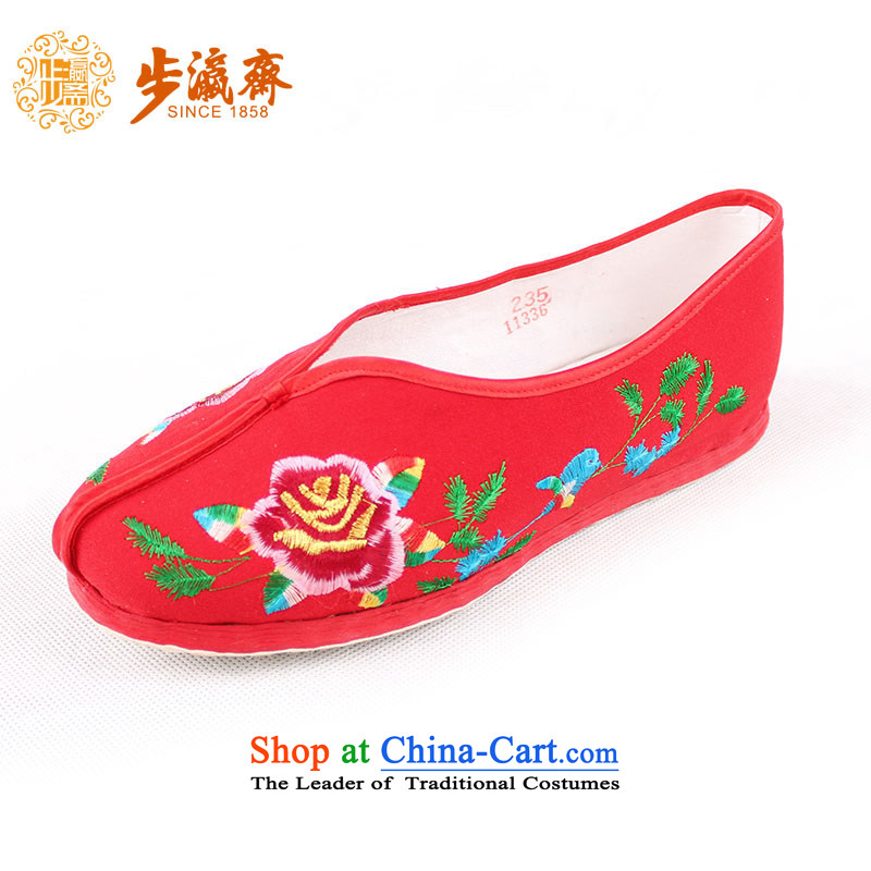The Chinese old step-young of Ramadan Old Beijing mesh upper hand-thousand-layer, non-slip embroidery mother lady's shoe-embroidered small garden womens single shoe Red聽35