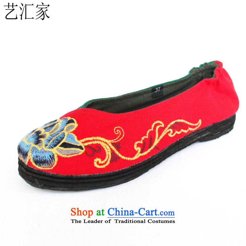 Performing Arts of thousands of bottom embroidered shoes of ethnic mesh upper stylish single women shoesL-9Red39
