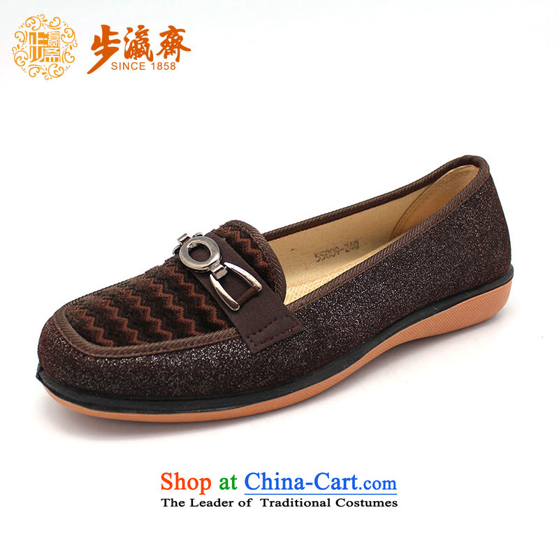 The Chinese old step-young of Old Beijing mesh upper slip Ramadan wear shoes gift home leisure shoes shoe womens single shoe 55009 Brown 34