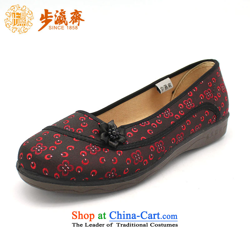 The Chinese old step-mesh upper spring Ramadan Old Beijing New breathable soft bottoms shoe home temperament womens single women shoes F11-2 shoes wine red35