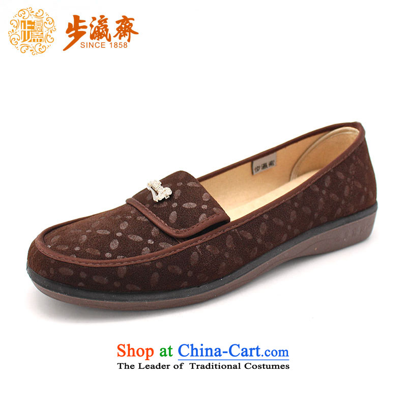 The Chinese old step-young of Ramadan Old Beijing New Anti-slip stylish mesh upper magnetic gift shoe soft bottoms womens single  women shoes F08-6 shoes brown 36