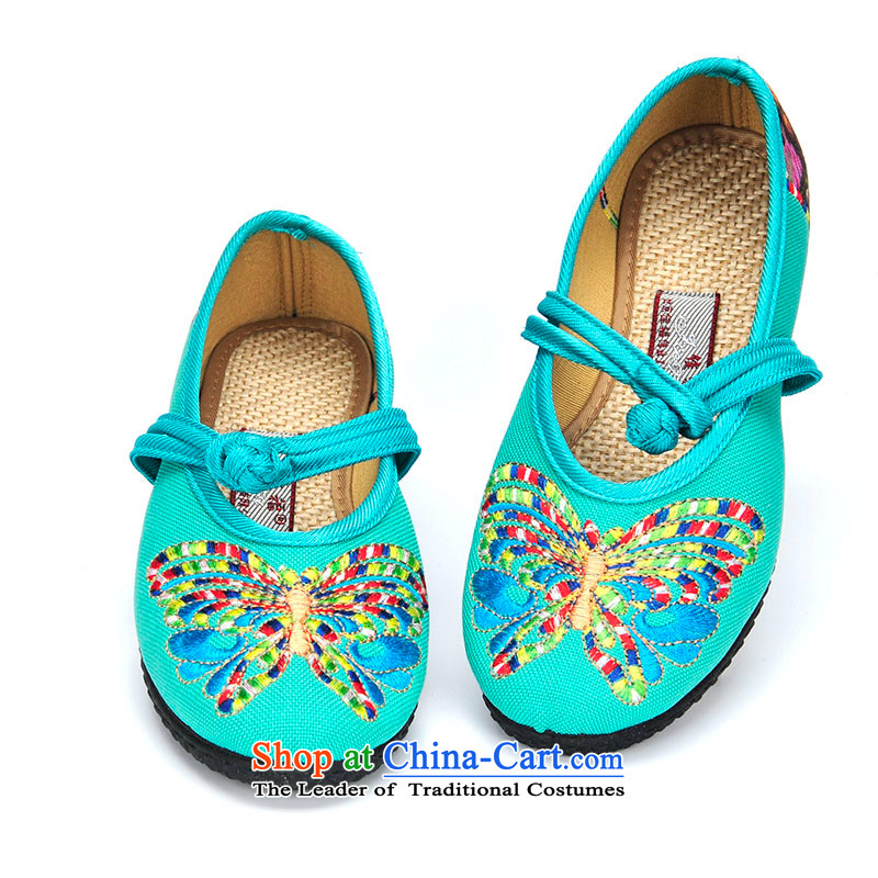 Better well old Beijing Ms. mesh upper embroidered shoes spring and summer new ethnic single shoes with soft, comfortable embroidered shoes mesh upper with flower butterfly B6-23 Light Blue 35