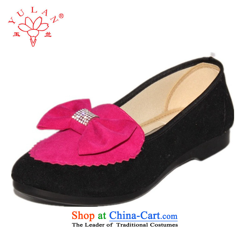 Magnolia Stylish spring bow ties of Old Beijing mesh upper flat shoe womens single shoe 2312-1073 Red聽39