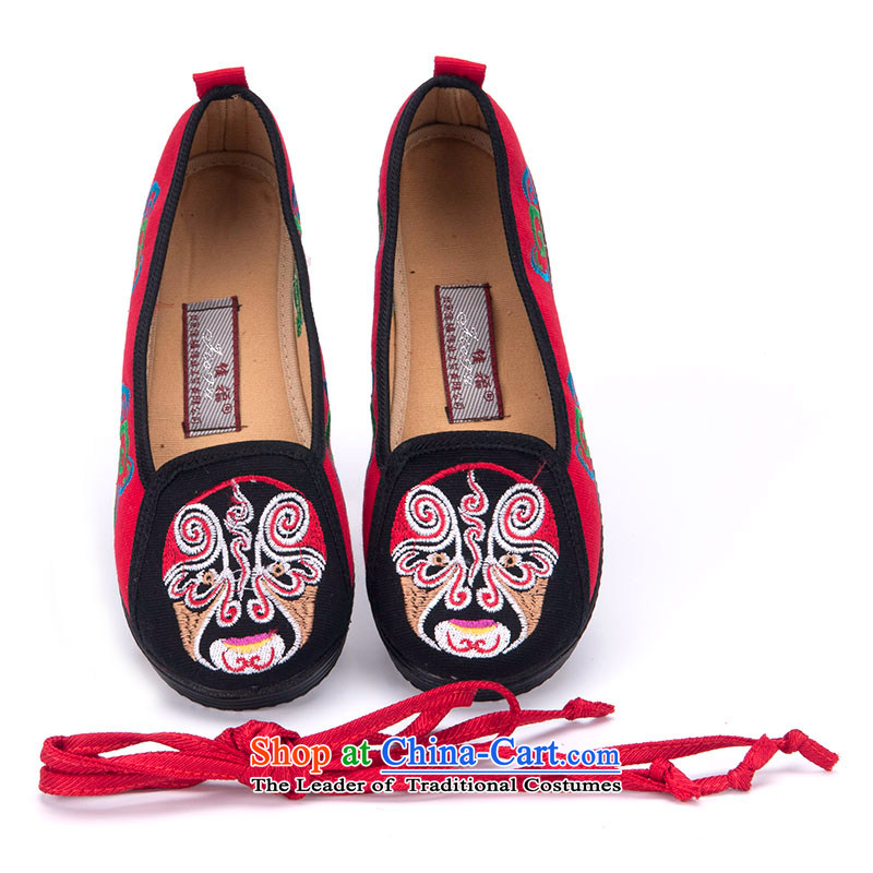 Better well old Beijing mesh upper spring and summer embroidered shoes women shoes retro foot ring tie fashion woman shoes of ethnic masks embroidered shoes 280-53 moms black 38
