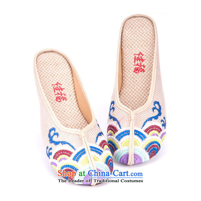 Better well old Beijing New mesh upper spring and summer women shoes increased within China wind embroidered shoes women shoes linen embroidered slippers 280-57 beige 40