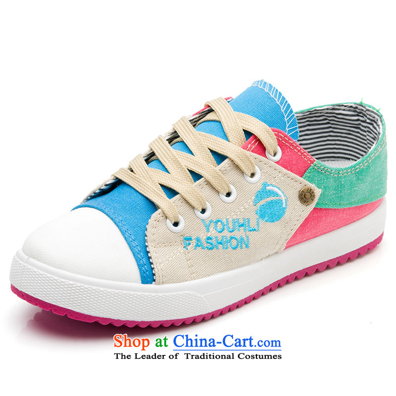 The new 2014-fat, Mrs leisure shoes wild thick cake canvas shoes leisure shoes Blue 37
