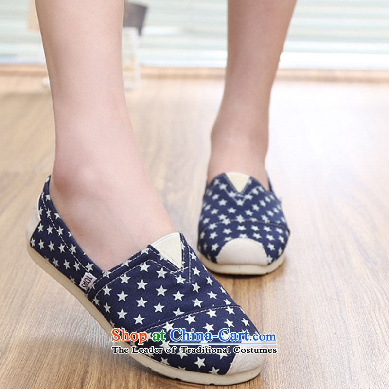 【 C.O.D. as soon as possible the new couple, 2015 mesh upper pin kit streaks stars lazy people shoes flat bottom canvas shoes couples shoes, casual shoes comfortable shoes single breathable Dark Blue35