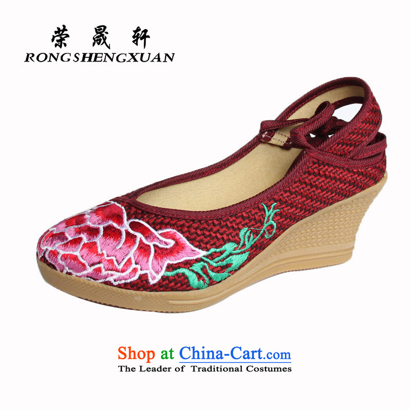 Yong-sung Xuan Old Beijing mesh upper with a flat bottom slope embroidered shoes stylish mother shoe A14-312 Red36