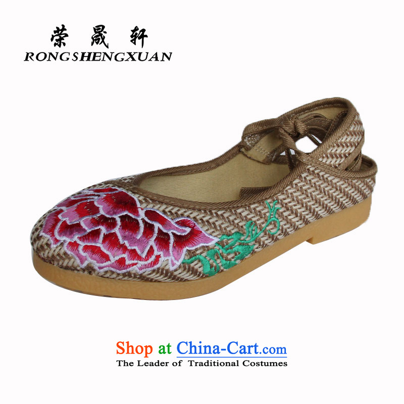 Yong-sung stylish embroidered shoes leisure Xuan soft bottoms mesh upper with a flat bottom of shoes with single old Beijing A14-317 mesh upper coffee color 35