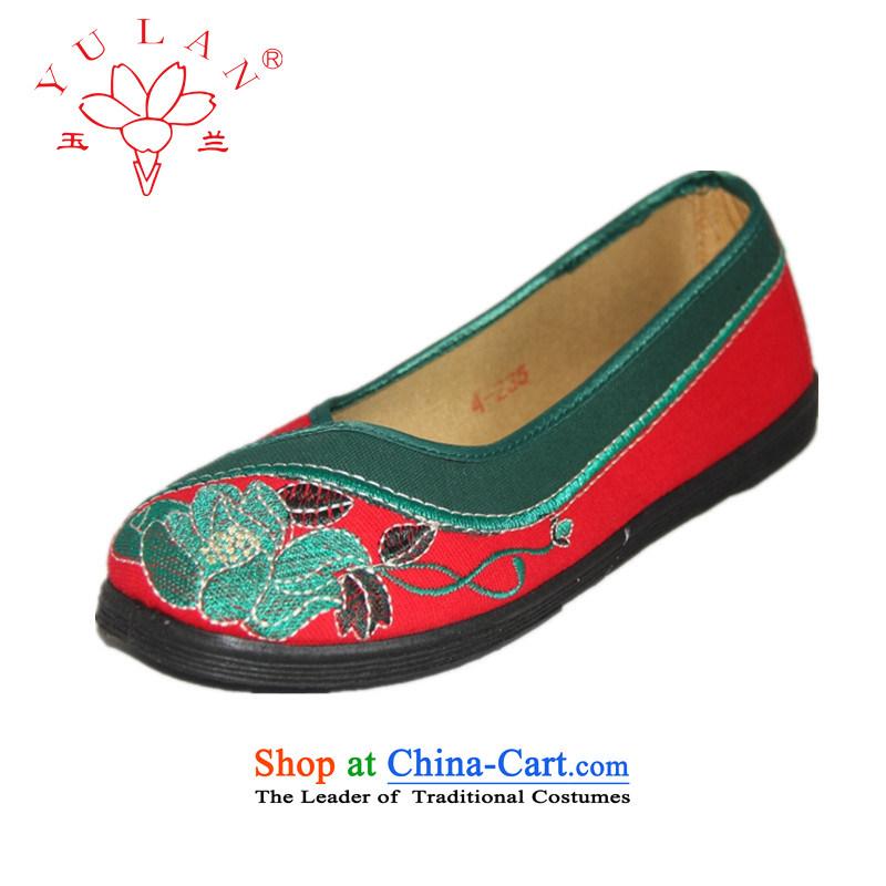 Magnolia Old Beijing mesh upper light port soft bottoms flat bottom embroidered shoes 2312-654 womens single Green36