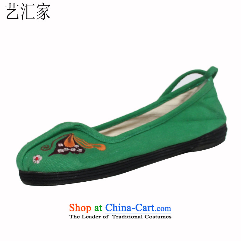 Performing Arts Old Beijing stylish single shoe mesh upper embroidered shoes Tie Shoe ethnic women shoes  M-1 3 36