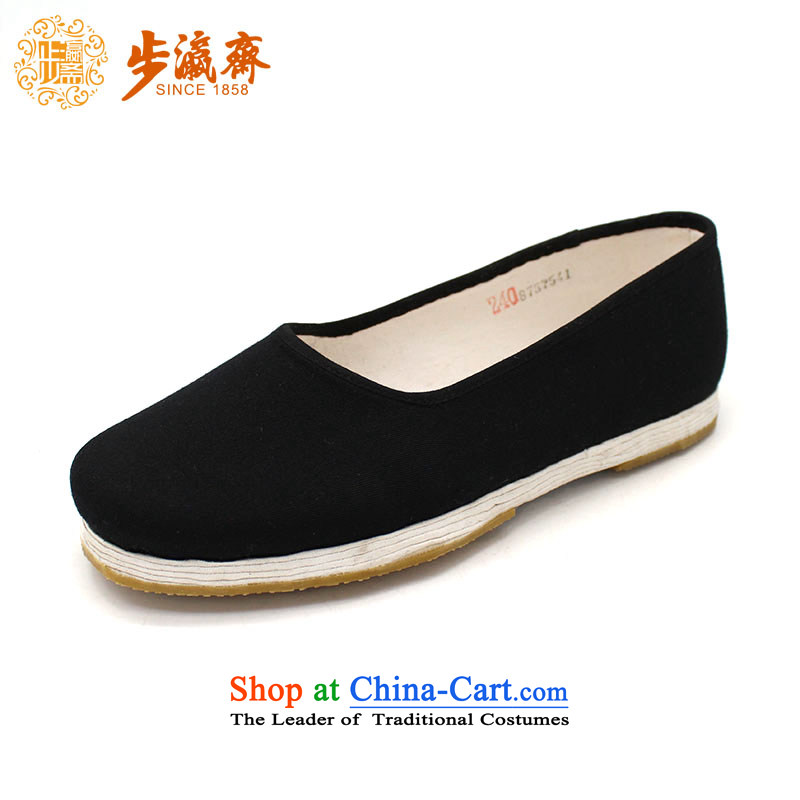The Chinese old step-young of Ramadan Old Beijing mesh upper loofah sockliner manually bottom thousands of streaks, mother Lady's temperament shoes film A-17 Black 36