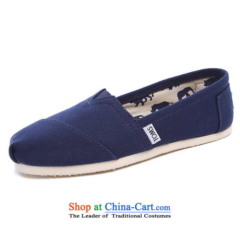 Mesh upper with TOM TOMS genuine United States navy blue comfortable Ms. flat bottom canvas shoes 001001B07-NVY 8/38.5