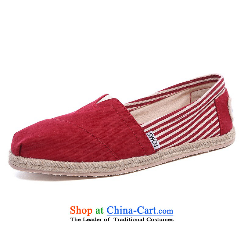 Mesh upper with TOM TOMS genuine United States President red stripes stitching comfortable shoes 001019B09-UNRED 10/42