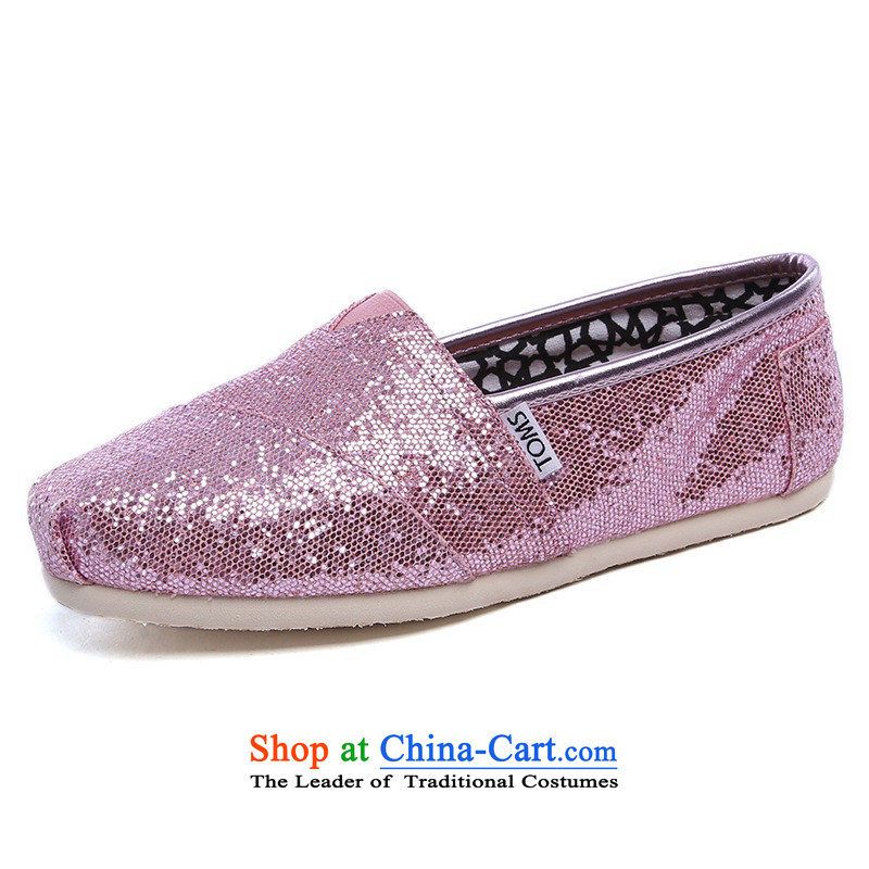 Mesh upper with TOM TOMS genuine United States President pink bright lounge and comfortable shoes001013B10-PINK 8/38.5