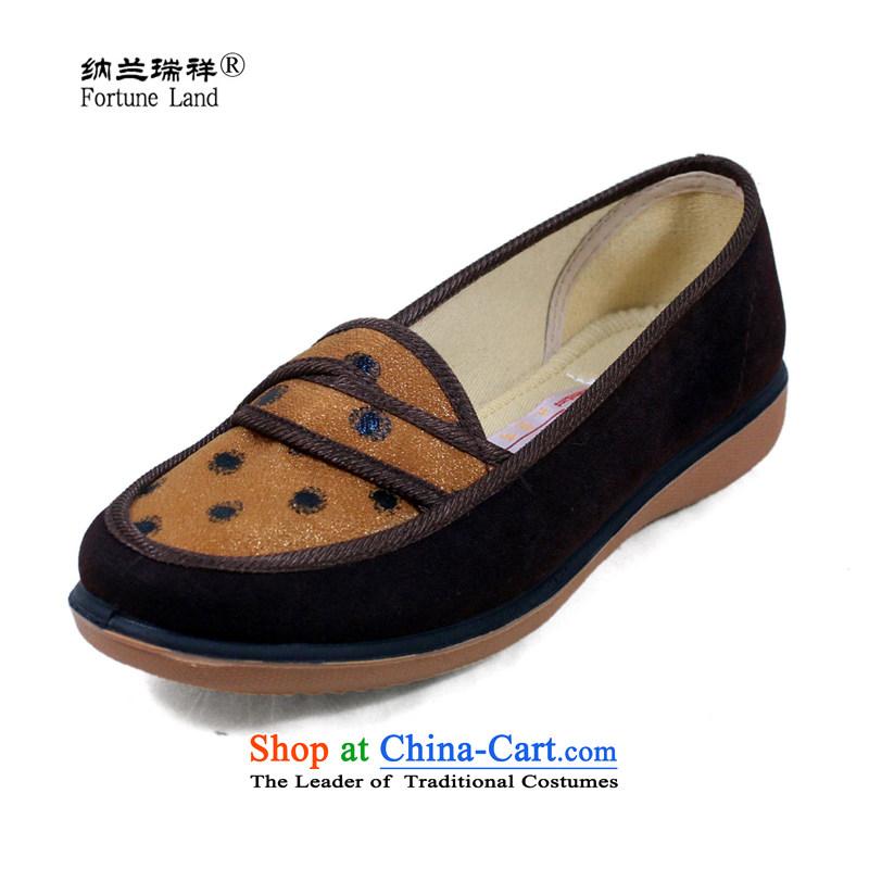 Naslin Ruixiang Old Beijing autumn, low profile mesh upper shoes single shoes, casual women shoes mother shoe mesh upper middle-aged women 1008 Yellow37