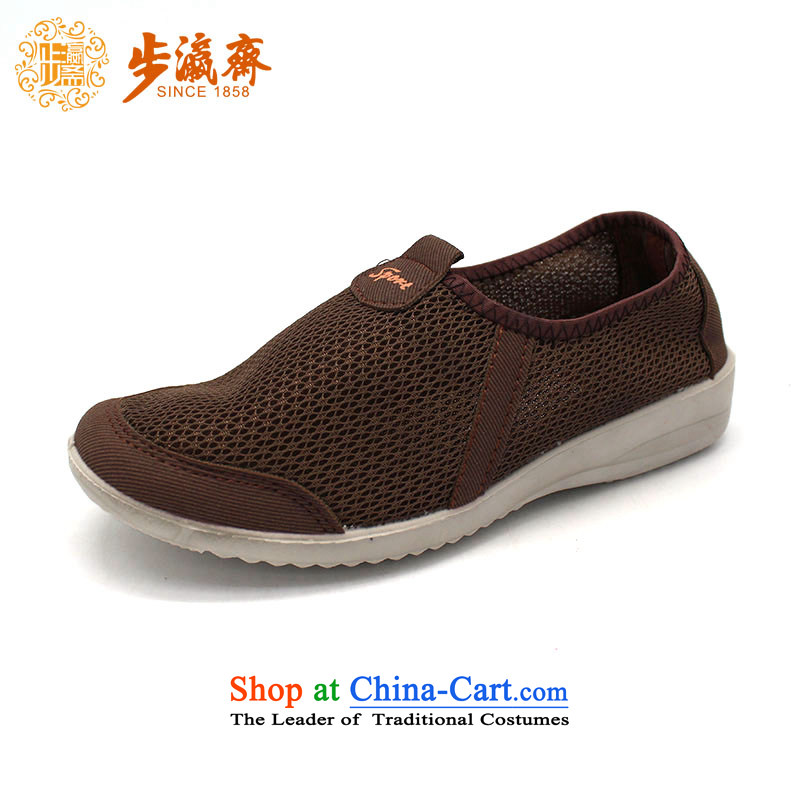 The Chinese old step-young of Ramadan Old Beijing mesh upper leisure wear to the Mother Nature of anti-skid lady's shoe23166 women shoes brown40
