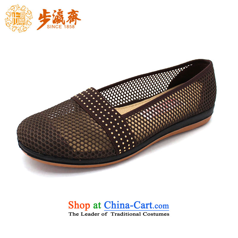 The Chinese old step-young of Ramadan Old Beijing mesh upper new women shoes with soft, non-slip embroidered Vogue girl shoe 55105 single woman shoes brown 40