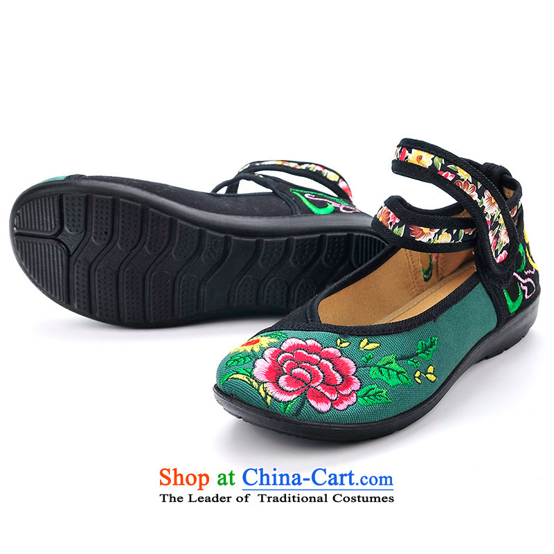 Better well old Beijing mesh upper female single shoe small slope embroidered with a flat bottom leisure shoes of ethnic dance soft bottoms women shoes genuine protection of traditional embroidery B280-51 mesh upper black 37
