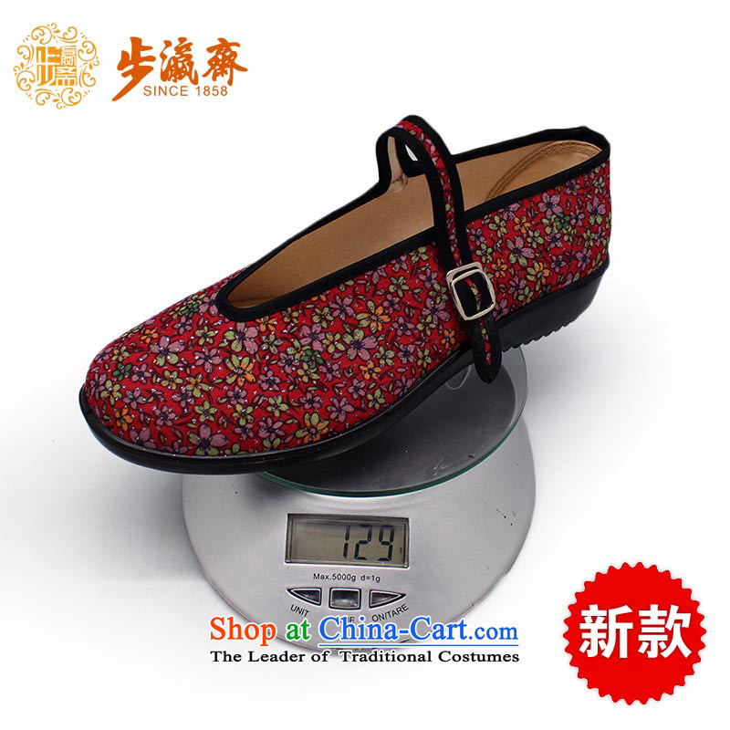 The Chinese old step-young of Ramadan Old Beijing mesh upper new anti-slip one field with a relaxing stay soft bottoms womens single shoeC100-52 women shoes Red36