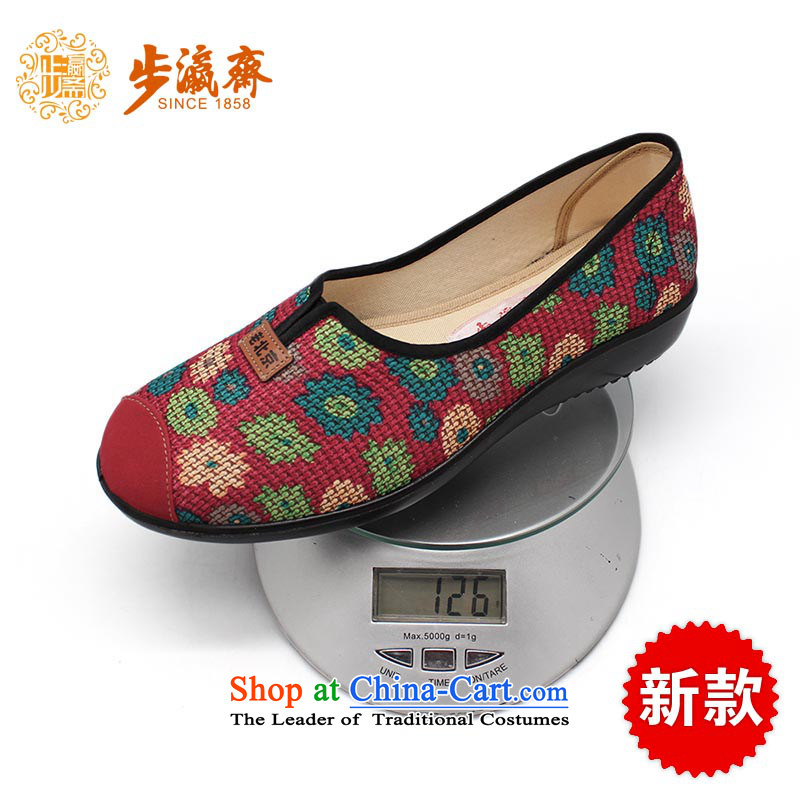 The Chinese old step-young of Ramadan Old Beijing New mesh upper non-slip Embroidered Gift shoe temperament home women shoes C100-53 women shoes Red 38