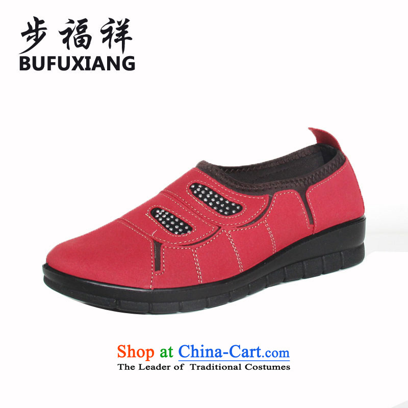 Step Fuxiang flat bottom foot kit women shoes stylish new soft, non-slip single shoe old Beijing 10PW321 mesh upper Red 37