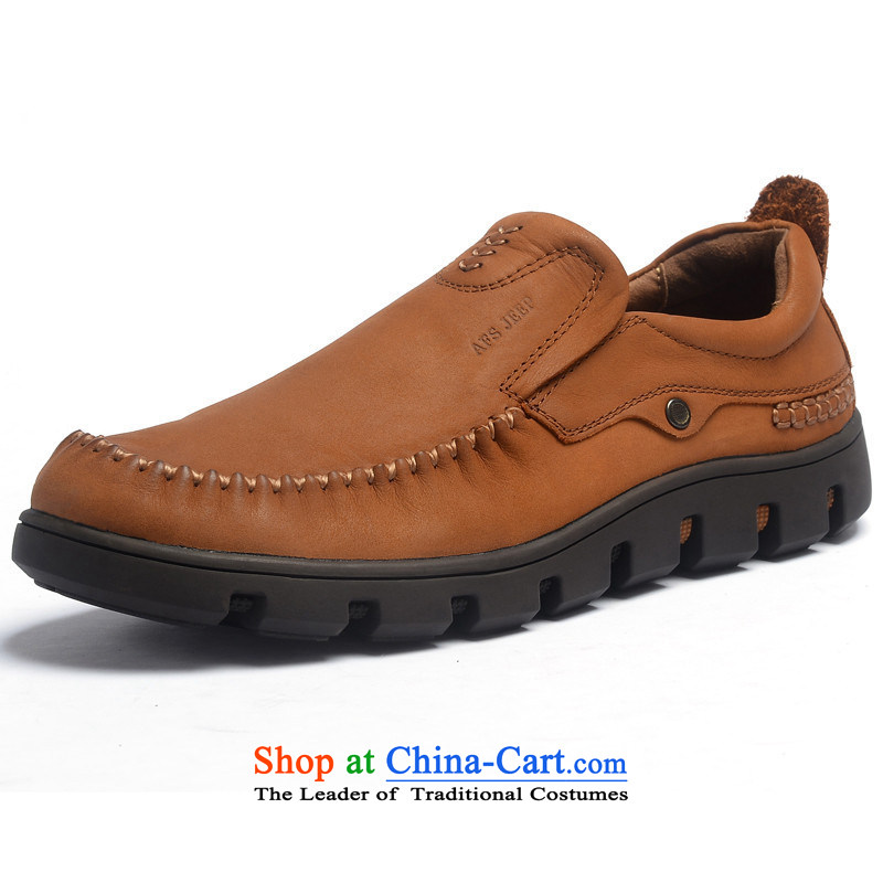 The field to the Roma men round head in a stylish men's shoes field jeep male and casual leather shoes low cow grain leather 1A1130 red and brown 42