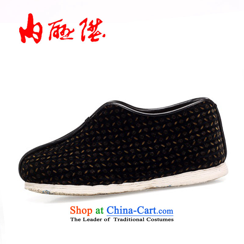 The rise of Old Beijing mesh upper hand on the bottom of the encryption chemical fiber cotton cotton shoes Beijing 8243A mesh upper Black Denim38