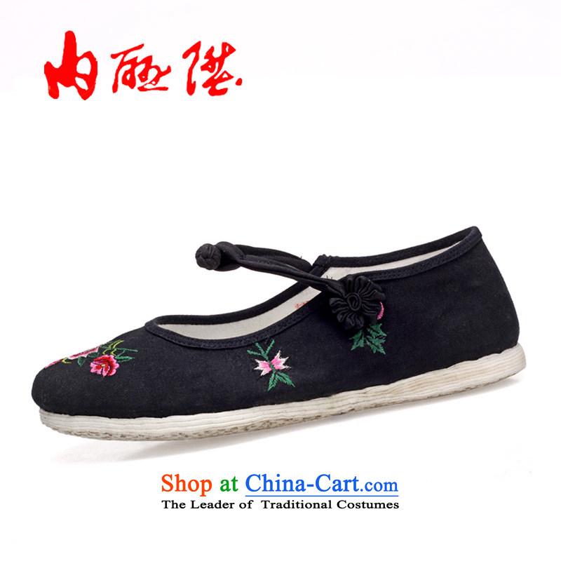 Inline l old Beijing mesh upper female plain manual thousands of bottom-mesh upper embroidered shoes8289A shook hands flowersblack36