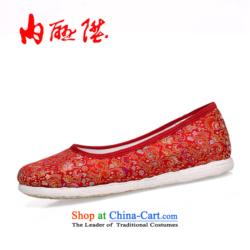 Inline l mesh upper female tangyan old Beijing mesh upper-gon thousands ground encryption tapestries hand shoe 8205A _sea black聽35
