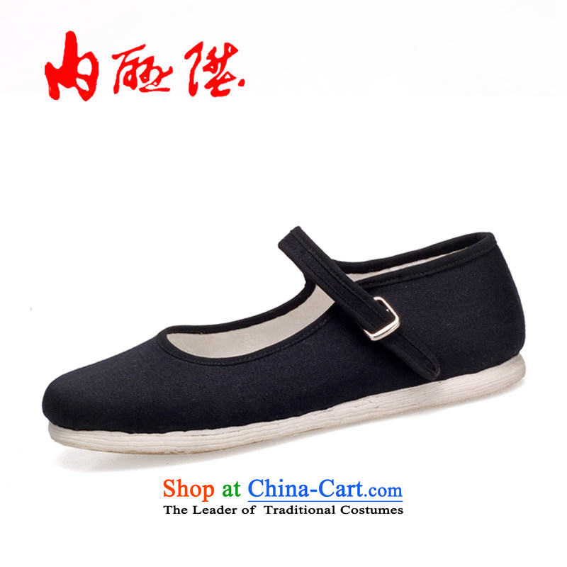 Inline l mesh upper mesh upper-gon girl of Old Beijing thousands ground encryption generation with a flat shoe 8201A New Year gift black37