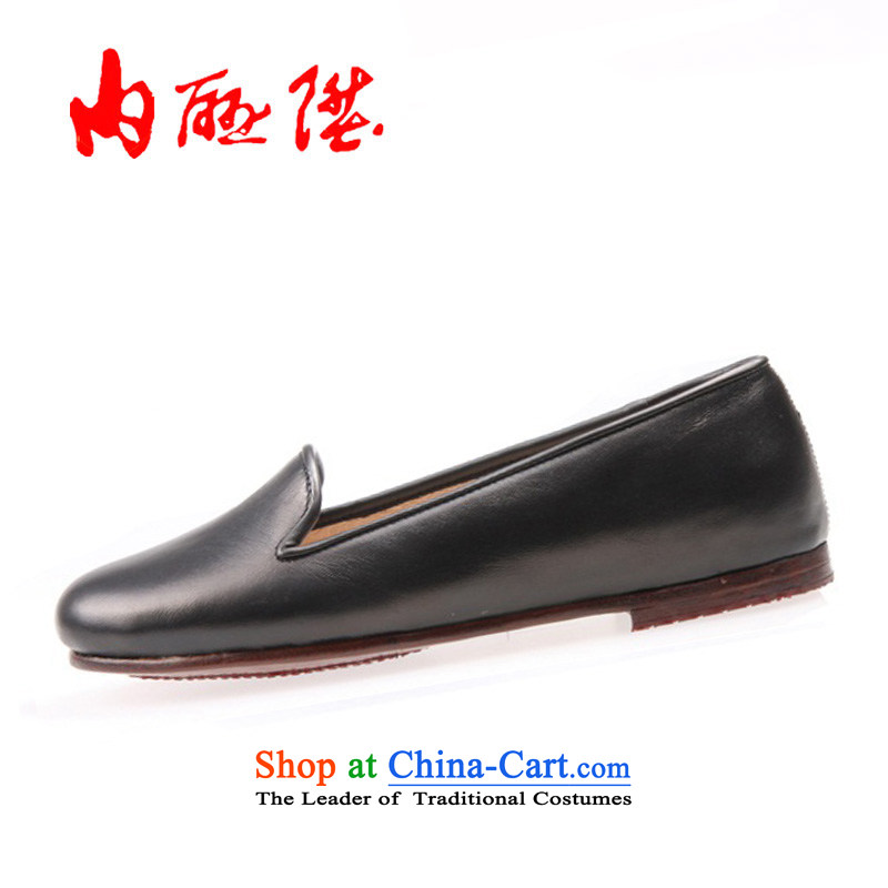 The women's shoes l mesh upper tangyan old Beijing mesh upper hand-gon leather panelled chipset small tabs on it7240Ablack38