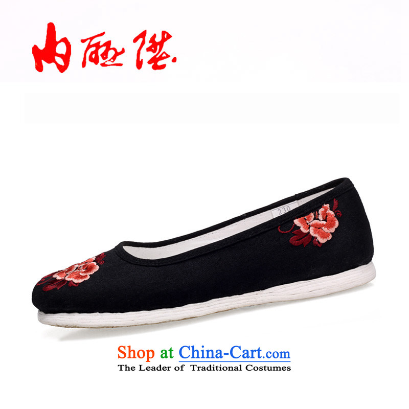 Inline l mesh upper mesh upper-gon girl of Old Beijing thousands of mesh upper-embroidered sea$encryption embroidered shoes 8207A New Year Gift Black / peony flowers 36