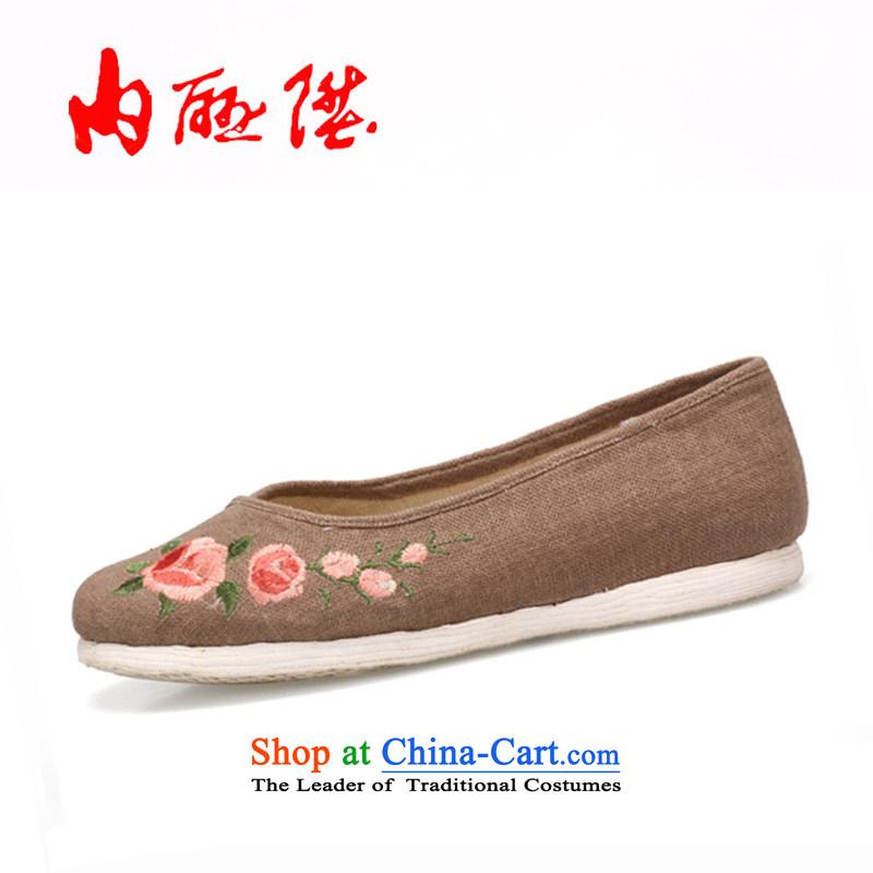The rise of Old Beijing mesh upper hand-gon, women shoes bottom thousands of encryption linen Tsim port shoes聽8725A聽mixed spend聽35