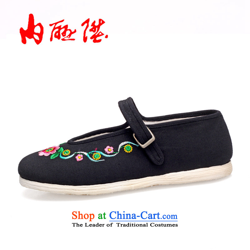 The rise of Old Beijing mesh upper women shoes manually bottom thousands of wool-Embroidered Encryption Mulan national embroidered shoes8219ABlack Toner_38 Embroidery