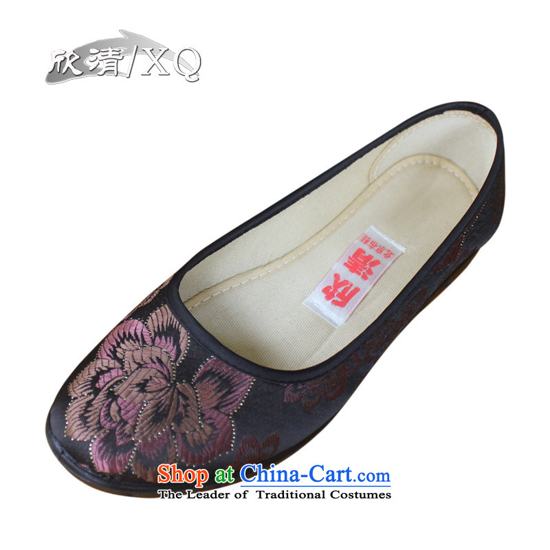 Yan Ching new spring of Old Beijing mesh upper female light port single shoe stamp national embroidered shoes low soft bottoms mother shoe聽13603聽Brown聽38