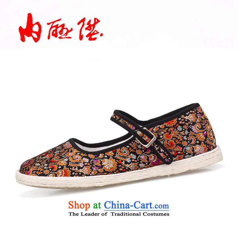 Inline l mesh upper hand-made shoes bottom thousands of silk tapestries generation comfortable lounge 8629A New Year gift black 8629A 38