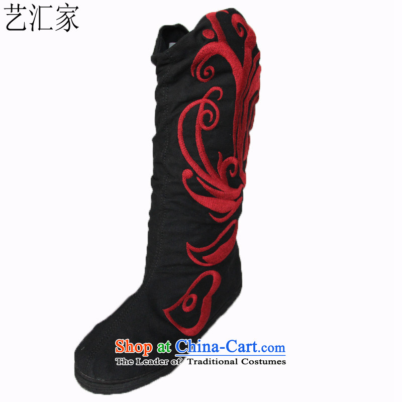 Performing Arts Ethnic Wind women shoes embroidered boots the boots from the spring and autumn single shoe old Beijing cloth shoes dancing phoenix 9 day black 40