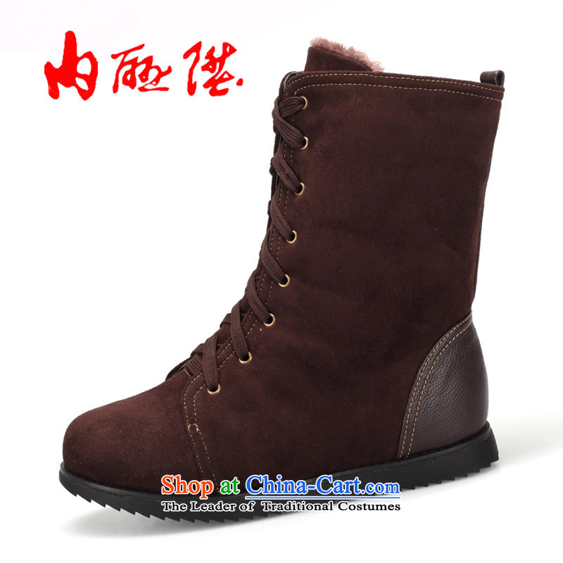 Inline l cotton shoes women shoes winter warm and stylish girl-style leisure cotton shoes 6056C coffee color38